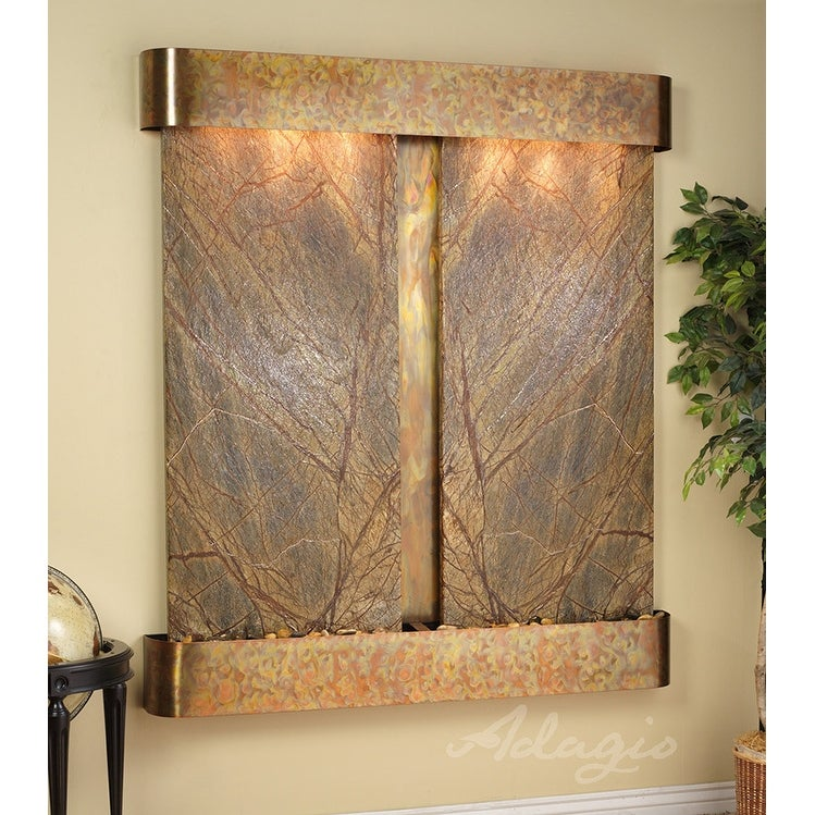 Adagio Cottonwood Falls Fountain w/ Green Natural Slate in Stainless Steel Finis - Thumbnail 0