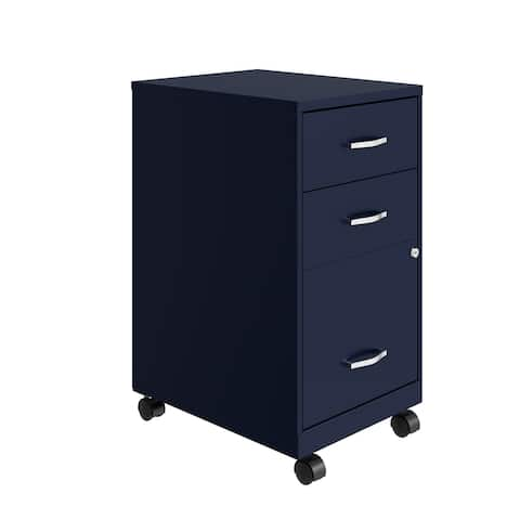 """Space Solutions 18"""" Deep 3 Drawer Mobile Organizer Metal Cabinet, Navy"""