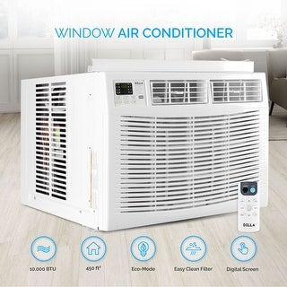 DELLA Indoor Air Conditioner Room Up to 450 Sq Feet 115V Washable Filter Mini Compact White 10000 BTUs Remote Controlled