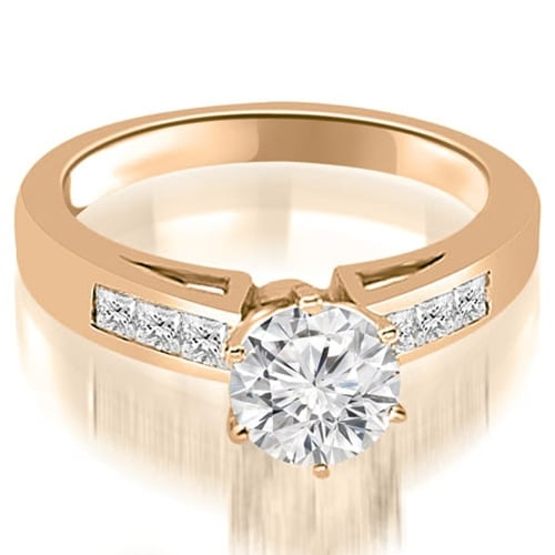 0.80 cttw. 14K Rose Gold Channel Set Princess Cut Diamond Engagement Ring
