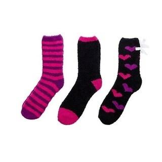 Betsey Johnson Womens Cozy Crew Socks 3PK Plush - 9-11