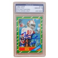 Jerry Rice Signed 49ers1986 Topps Rookie Card GEM MINT 10 PSA