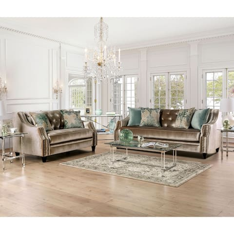 Furniture of America Vynn Transitional Chenille 2-piece Living Room Set