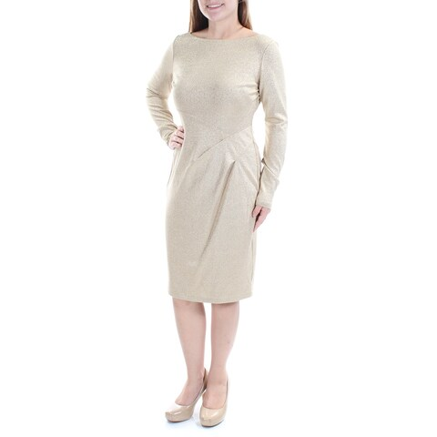 Womens Gold Long Sleeve Below The Knee Sheath Evening Dress Size: 14