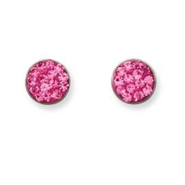 Stainless Steel Pink Crystal Post Earrings