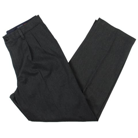 Dockers Mens Signature Khaki Dress Pants Relaxed Pleated - Charcoal