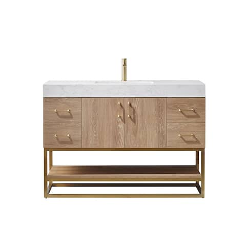 """Alistair 48"""" Single Vanity in North American Oak with White Grain Stone Countertop Without Mirror"""