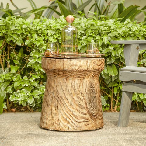 Tree Trunk Wood Stump Look Accent End Table
