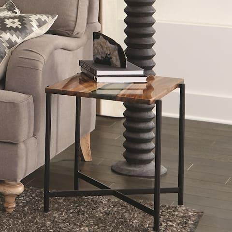 Carbon Loft Galvan 22-inch Acacia Wood and Acrylic End Table