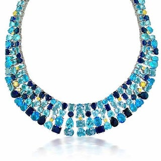 Bling Jewelry Rhodium Plated CZ Blue Birthstone Formal Bib Necklace 16 inches