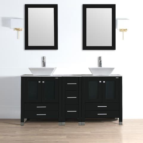 Double Sink Bathroom Vanity Set with Free Mirror
