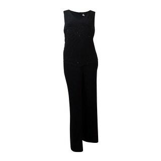 MSK Women's Sleeveless Caviar Beaded Jersey Jumpsuit - 12