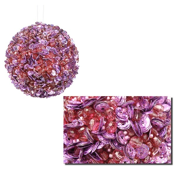 """Lavish Lilac Fully Sequined & Beaded Christmas Ball Ornament 3.5"""" (90mm)"""