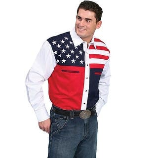 Scully Western Shirt Mens L/S Snap Patriot Collection Flag P-756|https://ak1.ostkcdn.com/images/products/is/images/direct/37407cb660a2881ecc0913bc2d998f9ac57f84ac/Scully-Western-Shirt-Mens-L-S-Snap-Patriot-Collection-Flag-P-756.jpg?impolicy=medium