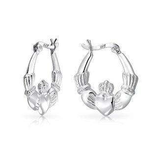 .925 Silver Polished Claddagh Heart Hoop Earring