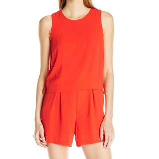 Vince Camuto NEW Red Womens Size 8 Side Lace-Up Solid Popover Romper