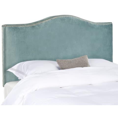 SAFAVIEH Jeneve Wedgwood Blue Velvet Upholstered Headboard - Silver Nailhead (King)