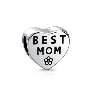 Bling Jewelry Flower Heart Best Mom Charm Bead .925 Sterling Silver