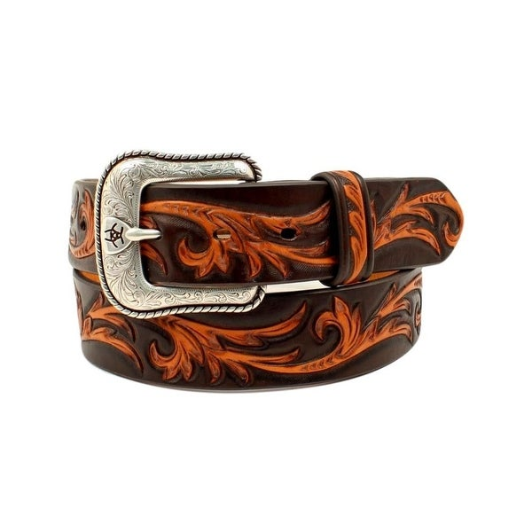 Ariat Western Belt Mens Leather Scroll Pattern Engraved