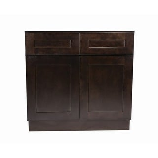"""Design House 562009 Brookings 42"""" Double Door Base Cabinet with Two Drawers"""
