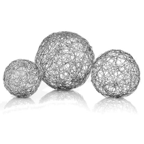 HomeRoots Shiny Nickel Finish Wire Decorative Spheres (Set of 3)