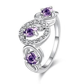 Trio-Purple Citrine Circular Design Petite Ring