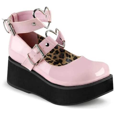 Demonia Women's Sprite 02 Platform Mary Jane Baby Pink Patent