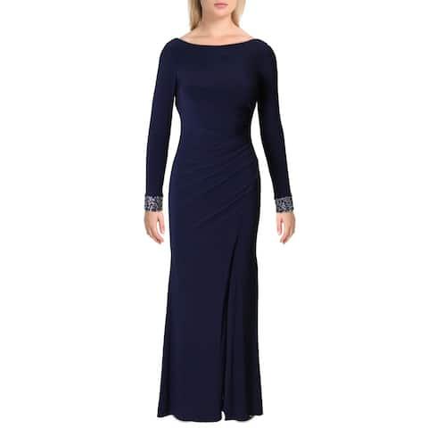 Vince Camuto Womens Evening Dress Embellished Scoop Back - Navy