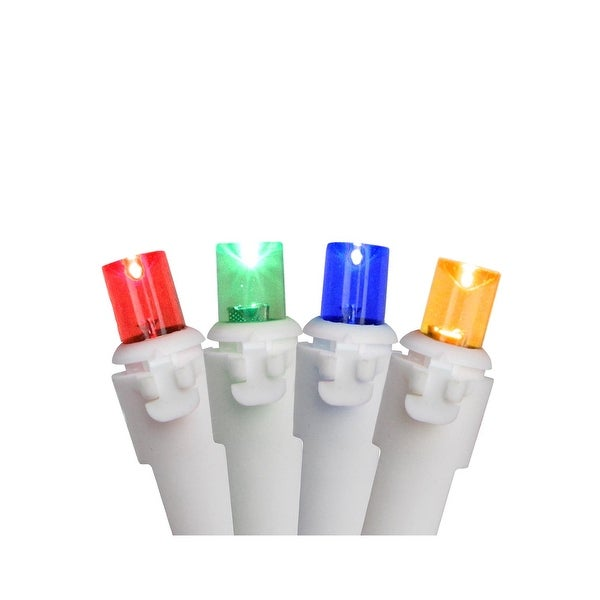 Set of 100 Multi-Color Wide Angle LED Lights - White Wire - multi