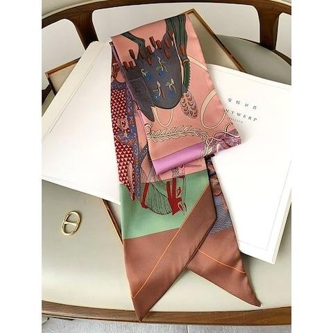 Vintage Printed Contrast Color Silk Scarf - FREE SIZE