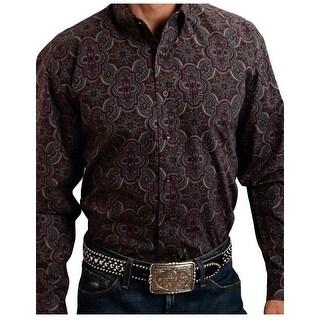 Stetson Western Shirt Mens Button Long Sleeve Wine 11-001-0526-0778 WI