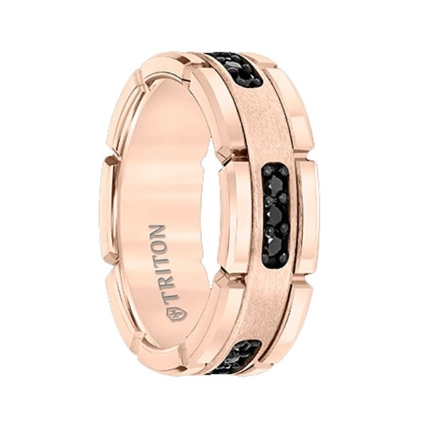 shop rosette flat rose gold plated tungsten ring with. Black Bedroom Furniture Sets. Home Design Ideas