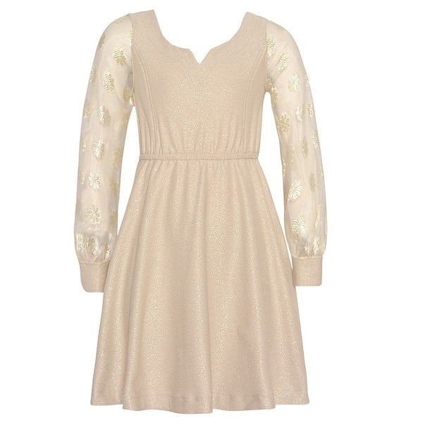 6eb65f03dbe6 Shop Bonnie Jean Girls Gold Round Split Neck Glitter Christmas Dress - Free  Shipping On Orders Over $45 - Overstock - 19293050