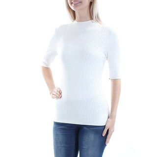 INC $49 Womens New 1419 Ivory Jewel Neck Short Sleeve Casual Sweater S B+B