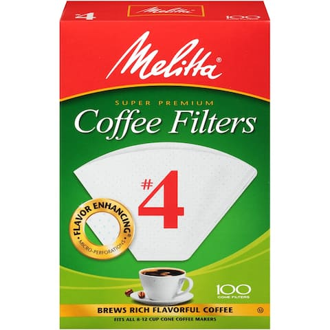 Melitta #4 Cone Coffee Filters, White, 100 Count