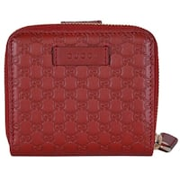 "Gucci Women's 449395 Red Leather Micro GG Guccissima French Wallet - 4.25"" x 4"""