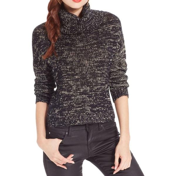 Confess Womens Juniors At Last Crop Sweater Shimmer Ribbed Trim