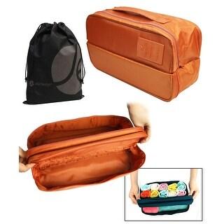 Double Zipper Travel Underwear Bra and Garment Organizer Pouch with Bonus Reusable Toiletry Bag
