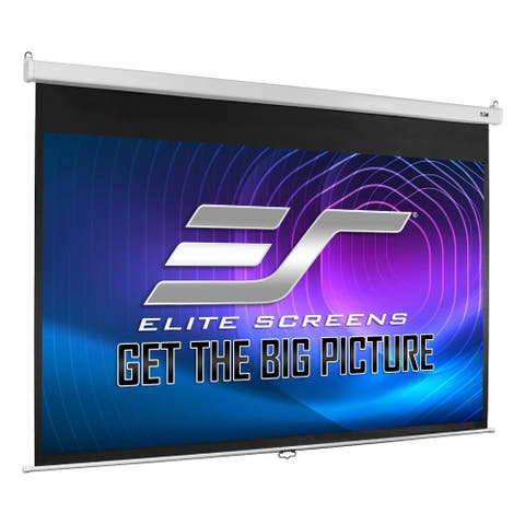 """Elite Screens M100HSR-PRO 120"""" Manual Pull Down Projection Screen with Slow Retraction - White"""