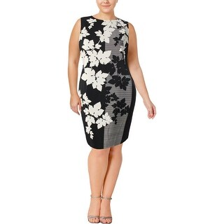 Vince Camuto Womens Plus Wear to Work Dress Floral Print Sleeveless