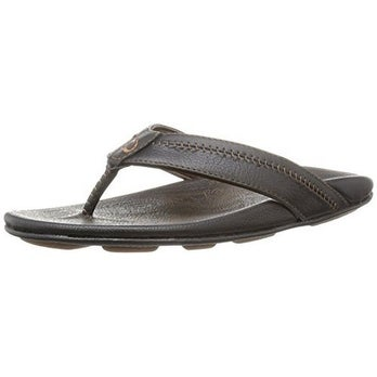 52a3bbd53 Shop Men's Olukai Hiapo Leather Sandals, Black/Black, Size 11 - 11 d(m) us  - Free Shipping Today - Overstock - 20264458