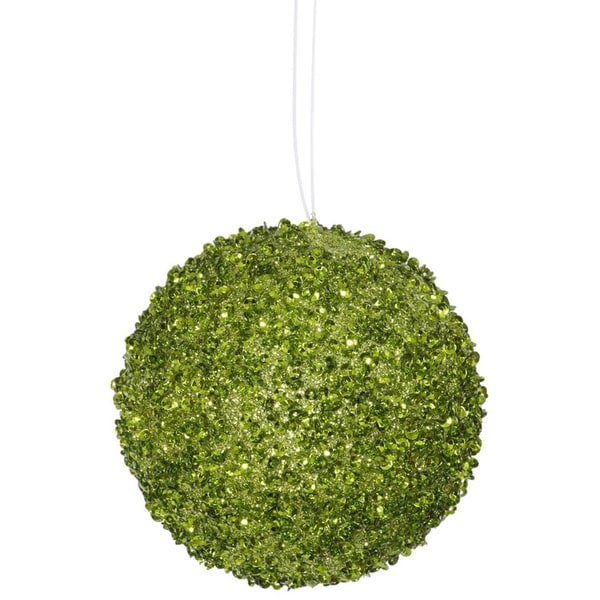 "4ct Lime Green Sequin and Glitter Drenched Christmas Ball Ornaments 4"" (100mm)"