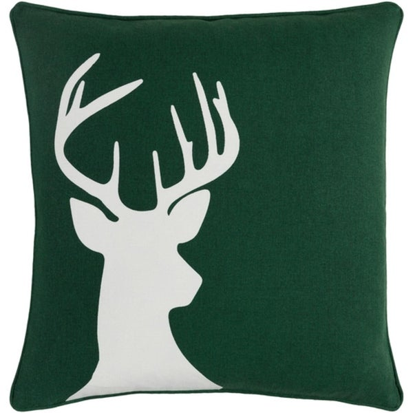 "18"" Snow White and Forest Green Decorative Country Rustic Holiday Throw Pillow Cover"