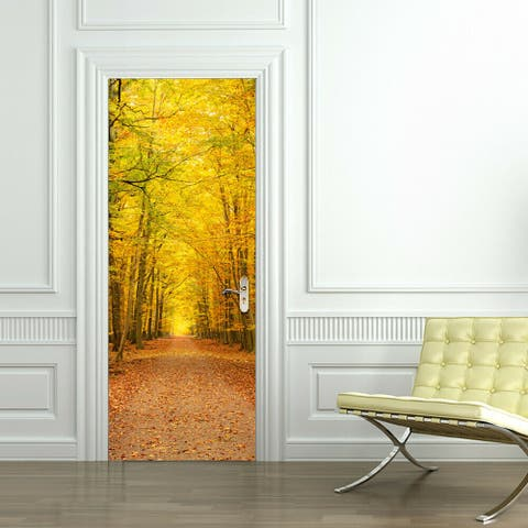 Walplus Deciduous Leaves Door Mural Peel and Stick Stickers 35x79in