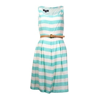 Nine West Women's Belted Striped Pleated A-Line Dress - 6