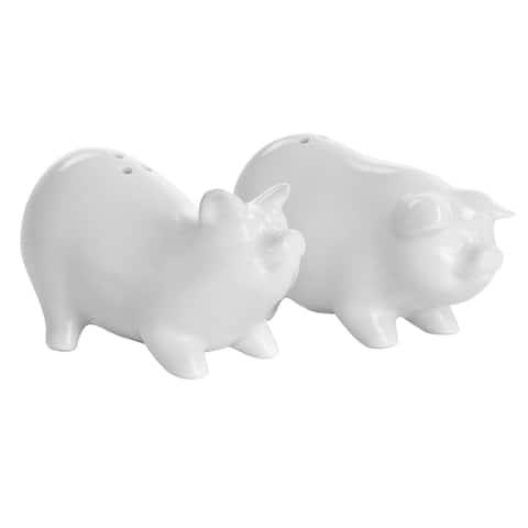 Martha Stewart Ceramic Pig Figurine Salt and Pepper Shaker Set