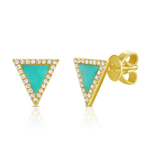 Turquoise & Diamond Triangle Stud Earrings 14K Yellow Gold by Joelle Collection