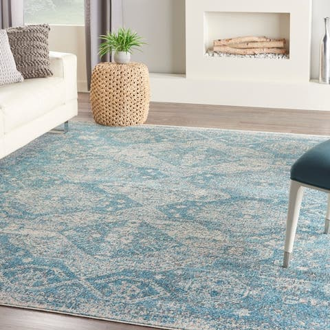 Nourison Tranquil Vintage French Country Contemporary Geometric Area Rug