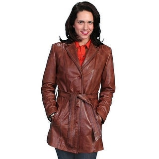 Scully Western Jacket Womens Leather Lined Belted Button L51