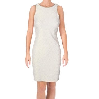 Belle Badgley Mischka NEW Beige Women's 8 Metallic Woven Sheath Dress